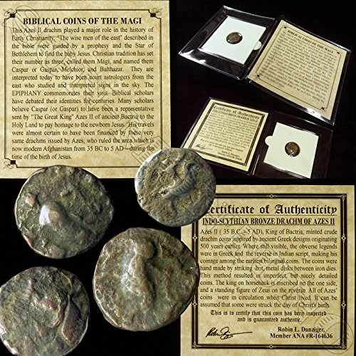 Coin Biblical - 35 GR YOU GET ONE Ancient BIBLICAL COIN OF THE MAGI Persian Roman Bible Greek Jesus 35BC-5AD in mini folder with Certificate of Authenticity drachm from Good to Very Fine