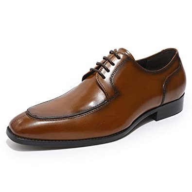 MIKCON Leather Oxfords Shoes Mens Vintage Derby Lace up Formal Dress Shoes  Brown c7eb8abba775