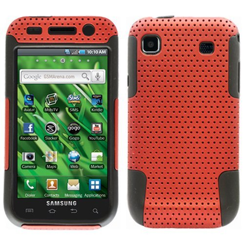 Red Black 2 in 1 Hybrid Rubber Plastic Skin Case Cover for Samsung Galaxy S Vibrant T959/ Samsung Galaxy S 4g/ T-mobile