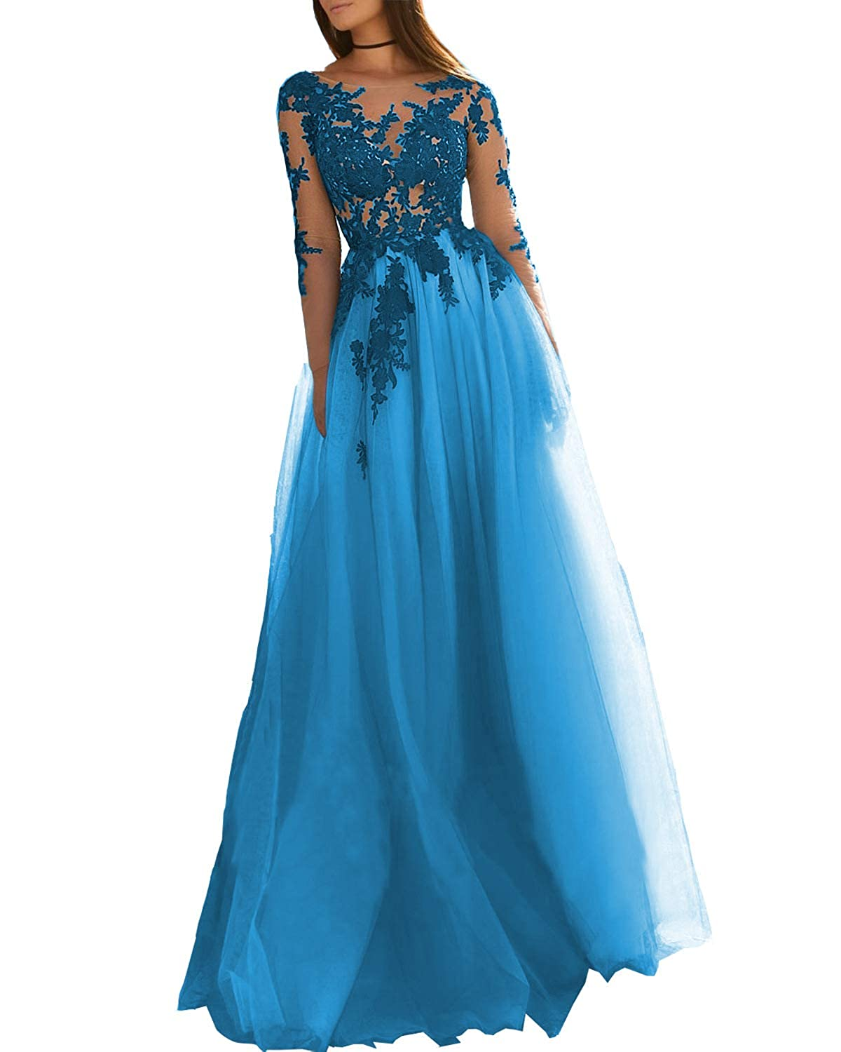 bluee EverBeauty Womens Long Lace Applique Tulle Prom Dress Aline Open Back Evening Ball Gown