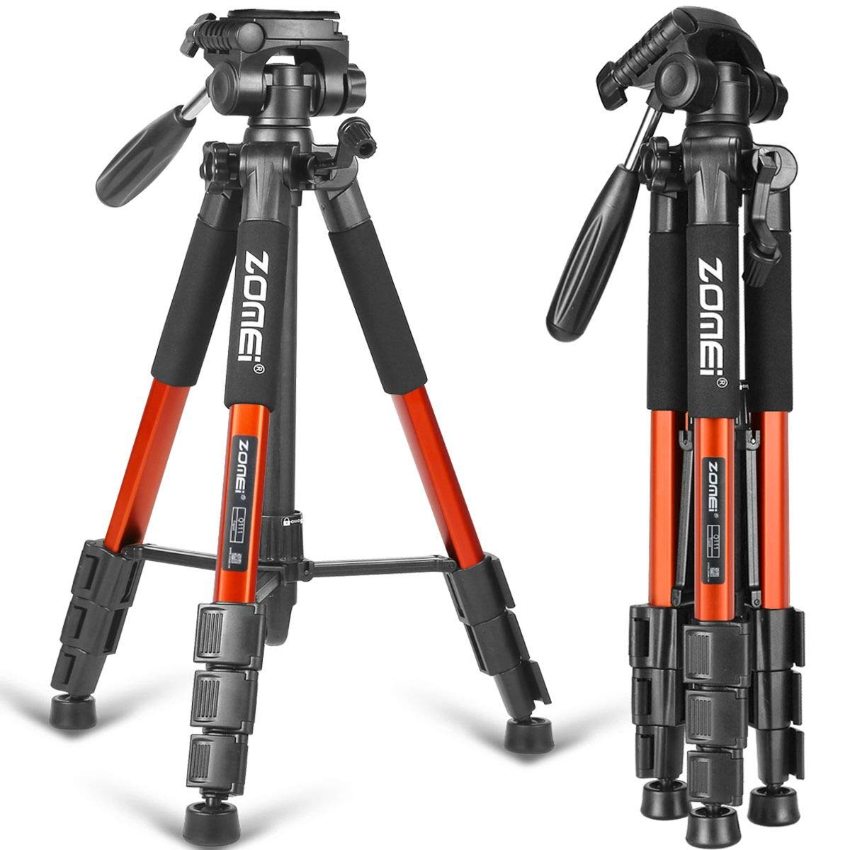 ZOMEI 55'' Compact Light Weight Travel Portable Folding SLR Camera Tripod for Canon Nikon Sony DSLR Camera with Carry Case(orange)