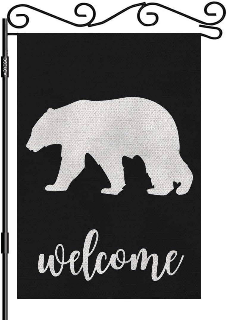 AOYEGO Bear Welcome Garden Yard Flag 12.5