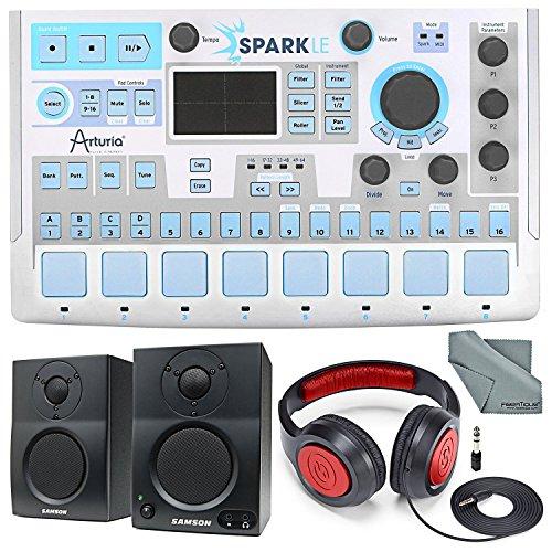 Arturia Sparkle Hardware Controller and Software Drum Machine and Deluxe Bundle w/Samson SR360 Xpix Designed Headphones + MediaOne BT3 Bluetooth Monitors + Fibertique ()