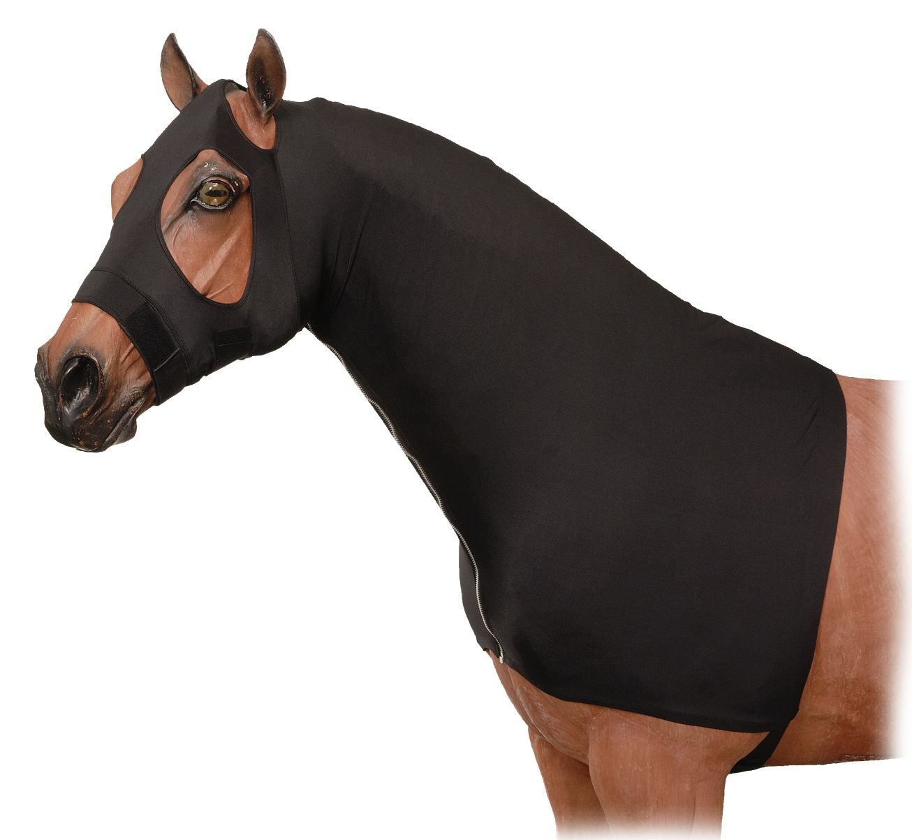 Tough 1 Spandex Mane Stay Hood with Full Zipper, Black, Large