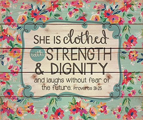 Cheap She is Clothed with Strength & Dignity Proverbs 31 Woman 12 x 16 Wood Pallet Design Wall Art Sign