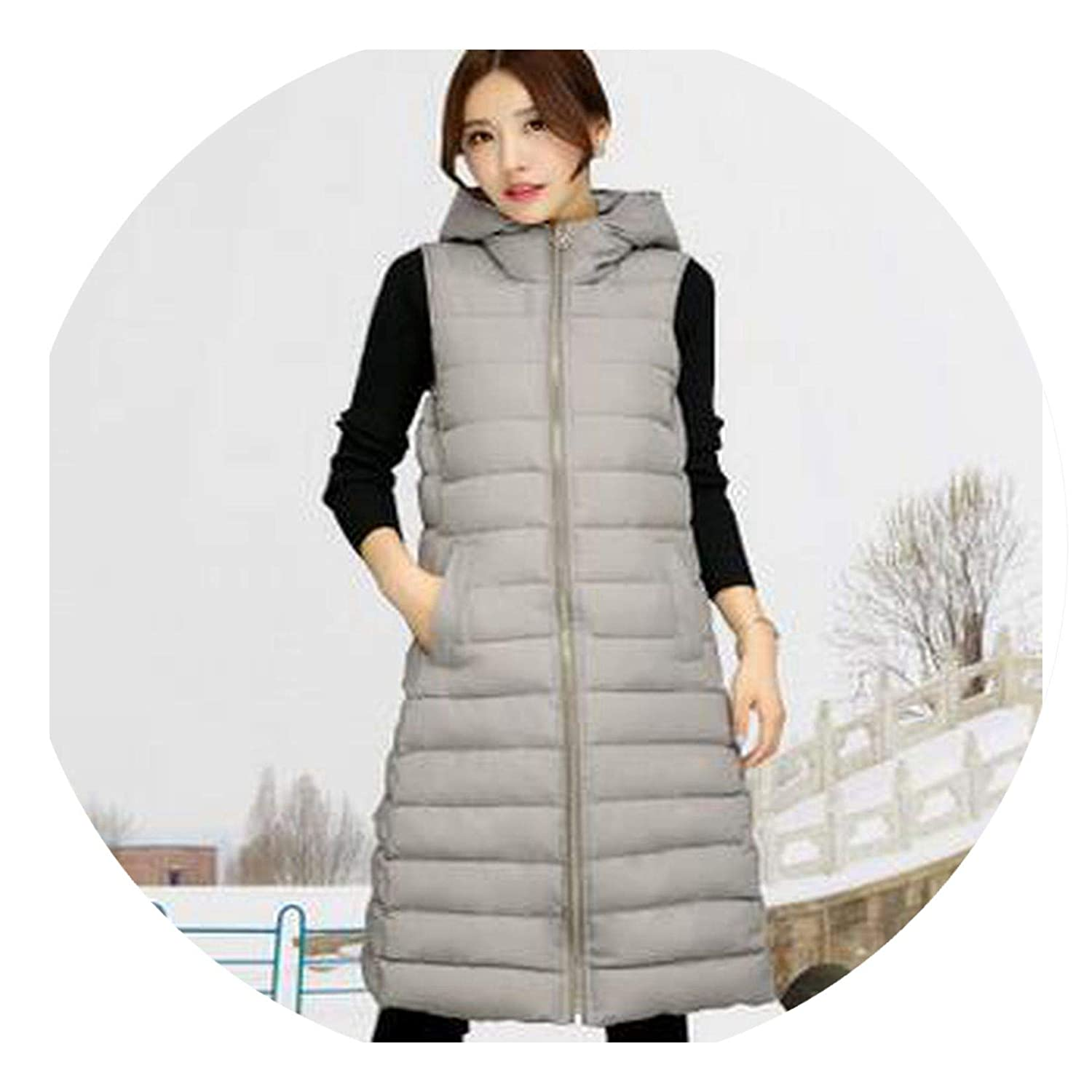 Womens Winter Vest Elegant Keep Warm Cotton Coat Pure Color Long