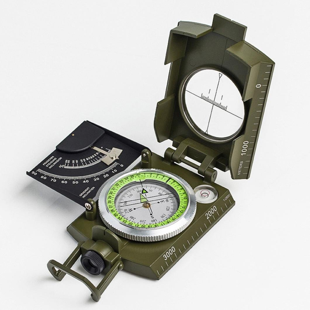Chartsea Professional Military Pocket Metal Sighting Compass Clinometer Hiking Camping (A)