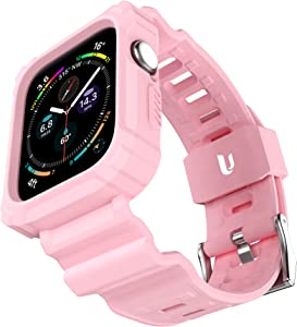 URBANITE for Apple Watch Band 40mm 38mm with Bumper Case, Rugged Protective Drop Shock Resistant Case with TPU Band Strap Fit for iWatch Series 3 4 5 6 SE Men Women Sport Military Style(Pink)