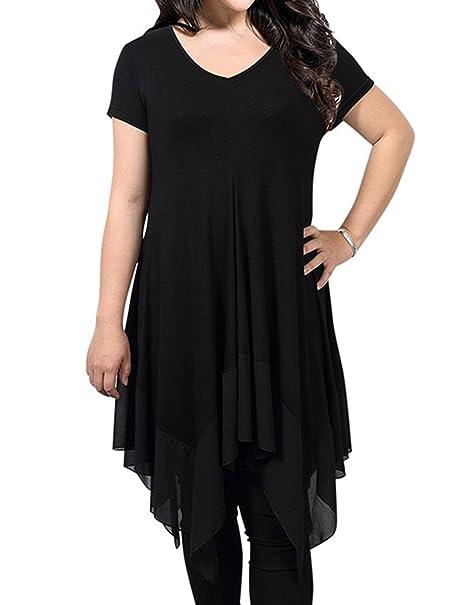 Cibeat Vestido de gasa con cuello en V y vestido de gasa de moda para mujeres