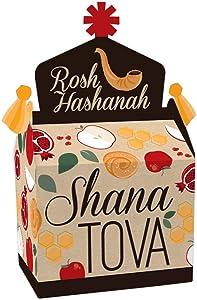 Big Dot of Happiness Rosh Hashanah - Treat Box Party Favors - Jewish New Year Goodie Gable Boxes - Set of 12