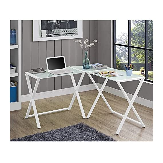 Millie White X-Frame Glass and Metal L-Shaped Computer Desk - Modern clean look Unique X-frame with flat metal tubing All glass is 6 mm thick - writing-desks, living-room-furniture, living-room - 6169vCr3eTL. SS570  -