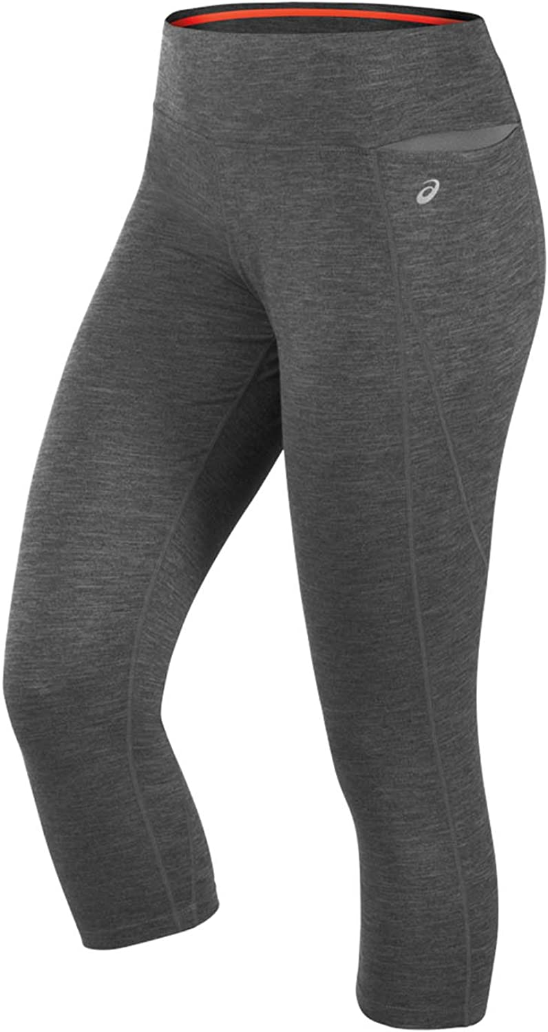 Black Women/'s New ASICS Capri 3//4 Leggings Running Tight Fitness Gym Sports