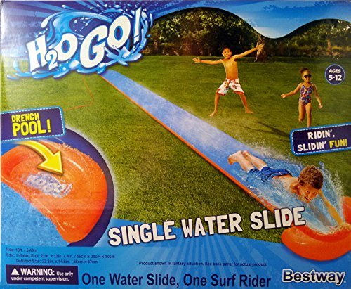 Bestway H2O GO! 18ft. Single Water Slide with Drench Pool and Surf Rider! Ages 5-12 by Bestway