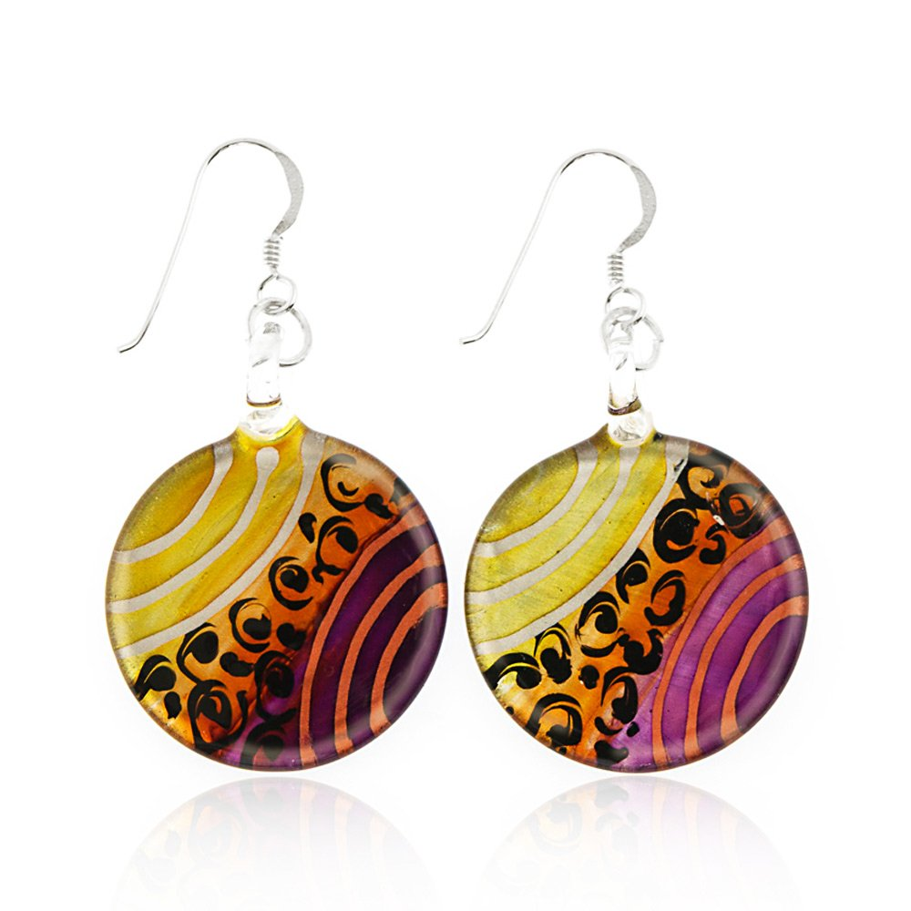 """Sterling Silver Hand Painted Murano Glass Gold Purple Orange Round Dangle Hook Earrings 1.8"""" by Chuvora"""
