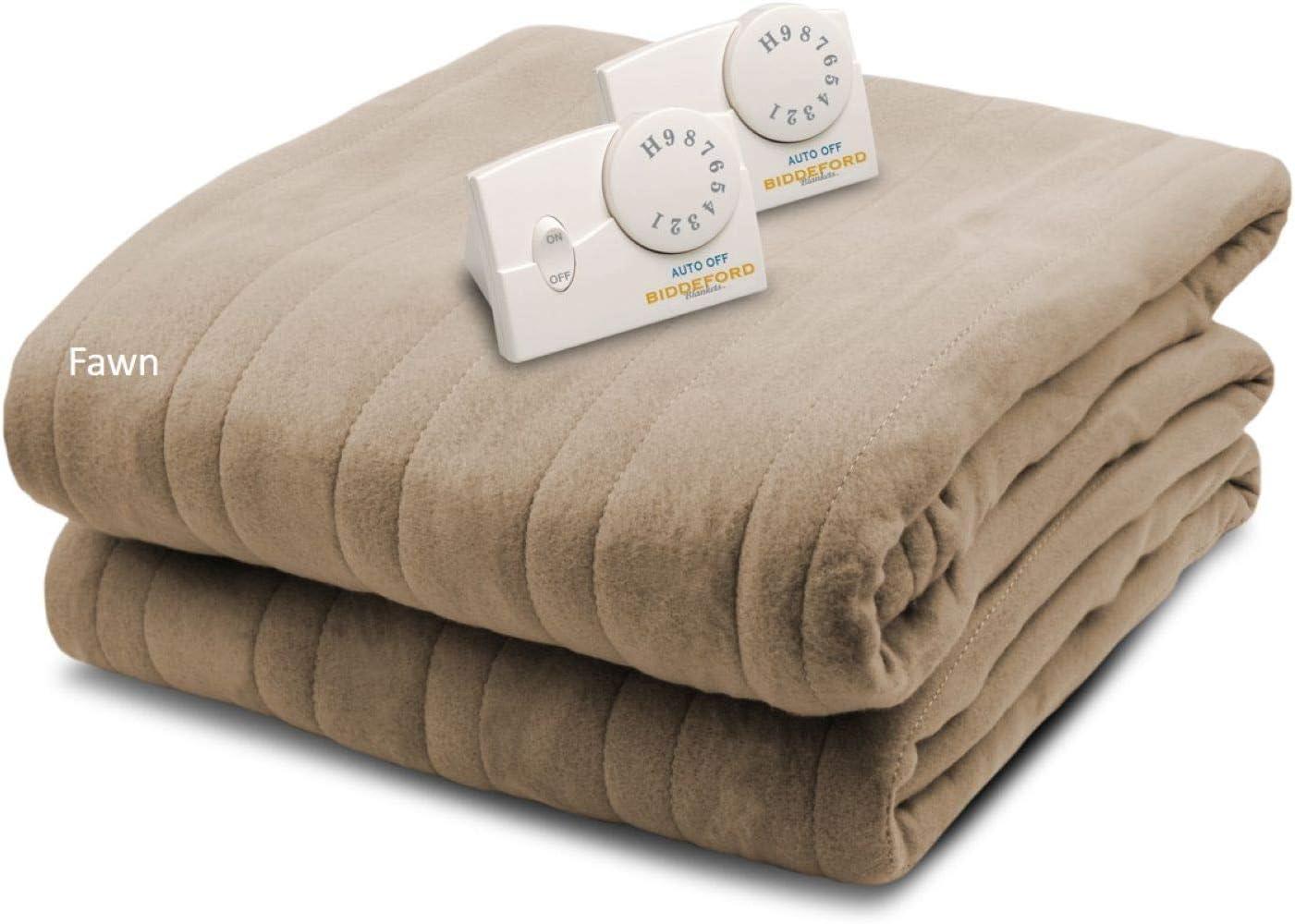 Biddeford Blankets, LLC Comfort Knit Heated Blanket, King, Fawn