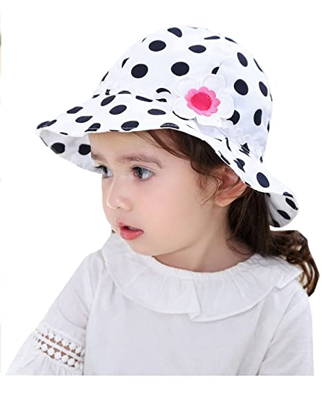 Amazon.com  BonjourMrsMr Baby Girls Cute Polka Dot White Cotton Sun ... a388dbbdc40