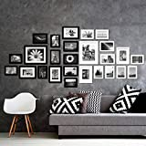 Voilamart Picture Frames Set of 26, Multi Pack Photo Frame Set Wall Gallery Kit - Display Two 8x10 in, Five 5x7 in, Nineteen 4x6 in, with Wall Template and Hanging Hardware, Black White