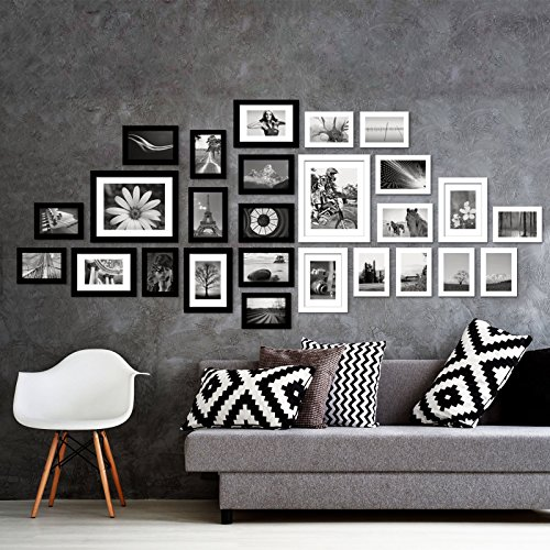 (Voilamart Picture Frames Set of 26, Multi Pack Photo Frame Set Wall Gallery Kit - Display Two 8x10 in, Five 5x7 in, Nineteen 4x6 in, with Wall Template and Hanging Hardware, Black White)