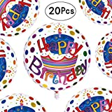 happy gas - 18 inch White Happy Birthday Round Shaped Foil Mylar Balloons Cup Cake Helium Balloons Baby Shower Party Decorations, 20pcs