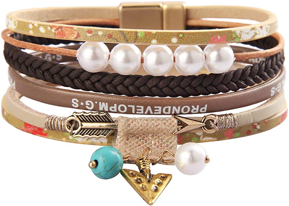 GelConnie Baroque Pearl Leather Wrap Around Bracelet Multi Strand Boho Bracelets Magnetic Cuff Bracelets Bohemian Jewelry for Women Daughter Sister