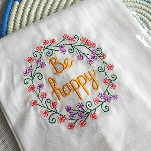 100 %コットンナプキン刺繍夕食テーブルリネン布ティー&コーヒー時間4570 cm 45*70cm  Be happy B01IP9HHVC