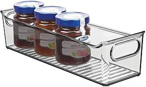 "mDesign Slim Plastic Kitchen Pantry Cabinet, Refrigerator or Freezer Food Storage Bin with Handles - Organizer for Fruit, Yogurt, Snacks, Pasta - BPA Free, 14"" Long - Smoke Gray"
