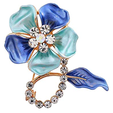 3e87be27966 Buy Maayra Flower Leaf Blue Brooch for Women (Party wear Saree pin_Crystal  Studded) Online at Low Prices in India | Amazon Jewellery Store - Amazon.in
