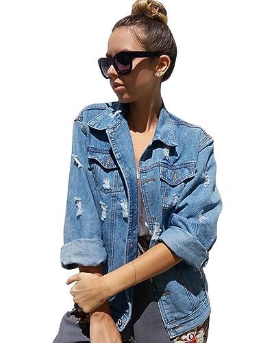Minetom Mujer Denim Jacket Corto Chaqueta De Mezclilla Slim Fit Botón Cerrada Exquisito Bordado De La Flor Moda Coat Sencillo Clásica