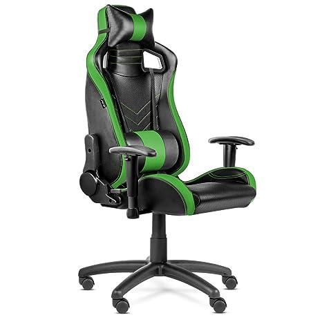 Kewayes - Silla Gaming Pro verde (ergonómica, ajustable, con reposacabezas y cojín lumbar, reclinable, PU de calidad y acolchado de espuma de alta ...