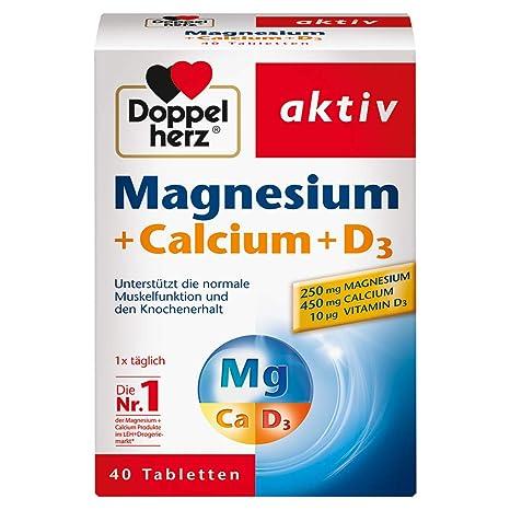 Doppelherz magnesio + calcio + D3, 40 comprimidos