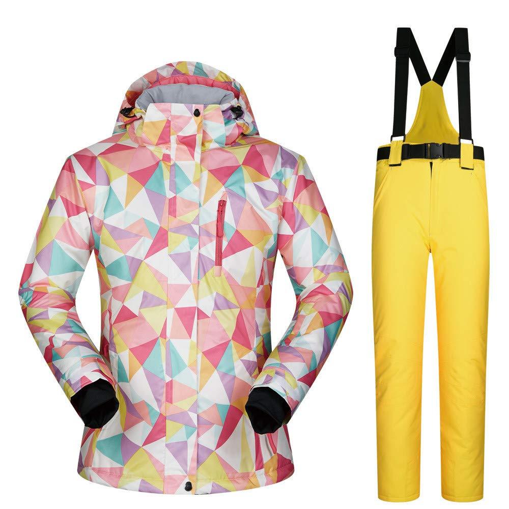 Tuta da sci Giacca da sci sci sci da donna e pantaloni ad alta impermeabile antivento Snowboard Coloreeeato stampato più Coloreeei Scegli tuta da sci uomo impermeabile ( Coloreee   Light blu pants , Dimensione   L )B07L3C3326Large giallo Pants | Vinto alta 889b3c