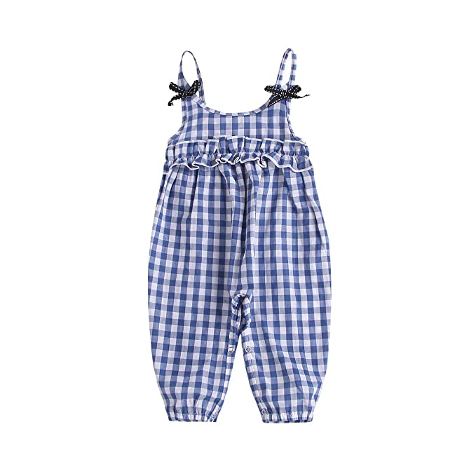 Toddler Baby Kid Girls Summer Solid Jumpsuit Rompers Harem Pants Clothes Outfits