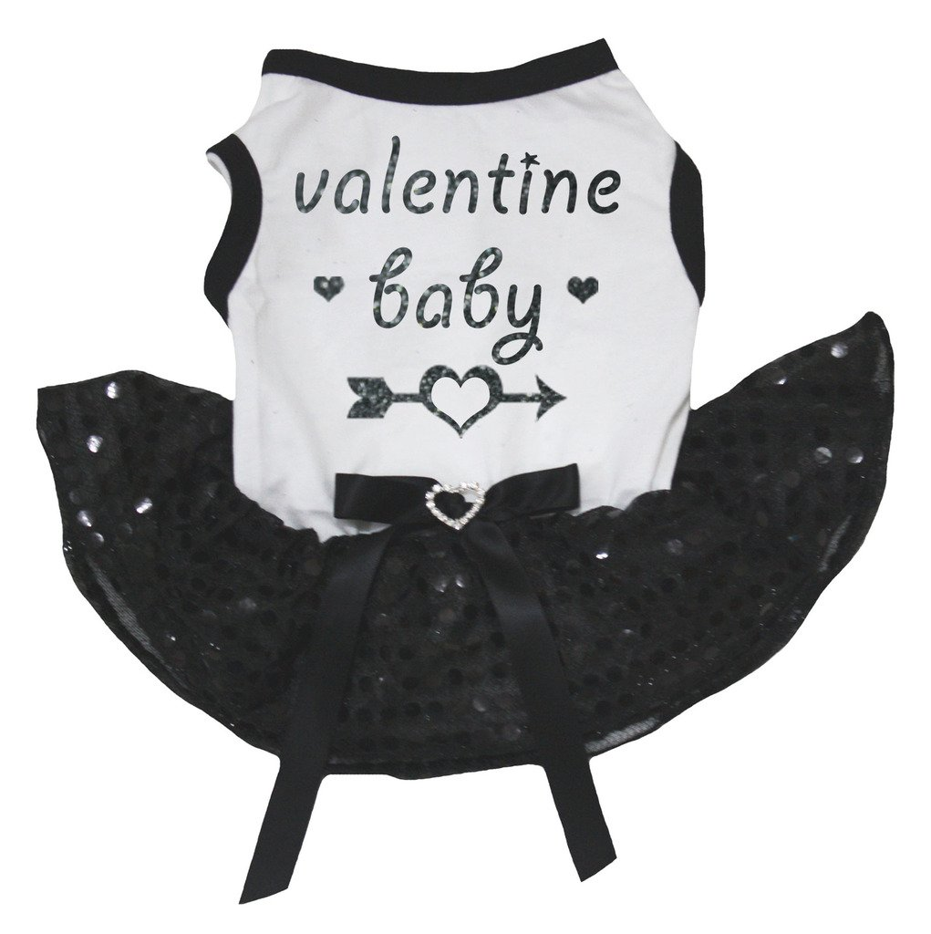 Petitebella Puppy Cloth Dog Dress Valentine Baby White Shirt Black Sequins Tutu (Large)