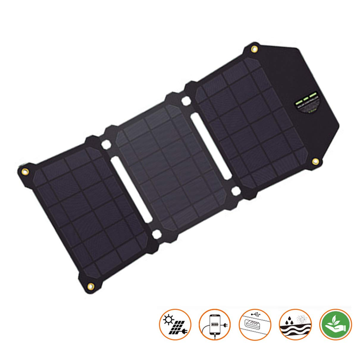 EFGS 3 Solar Panels Foldable Portable Solar Charger with waterproofand (21W 2-Port USB Solar Charger) for iPhone X/iPhone 8/8 Plus, Huawei, GoPro and More