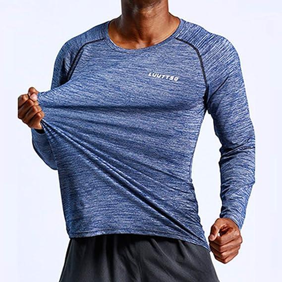 Battnot Herren Pullover Fitness Frühling, Männer Langarm Training Kleidung Langarm Bluse Outdoor Sport Bluse O Kragen Sport Hemd Sweatshirt Mens