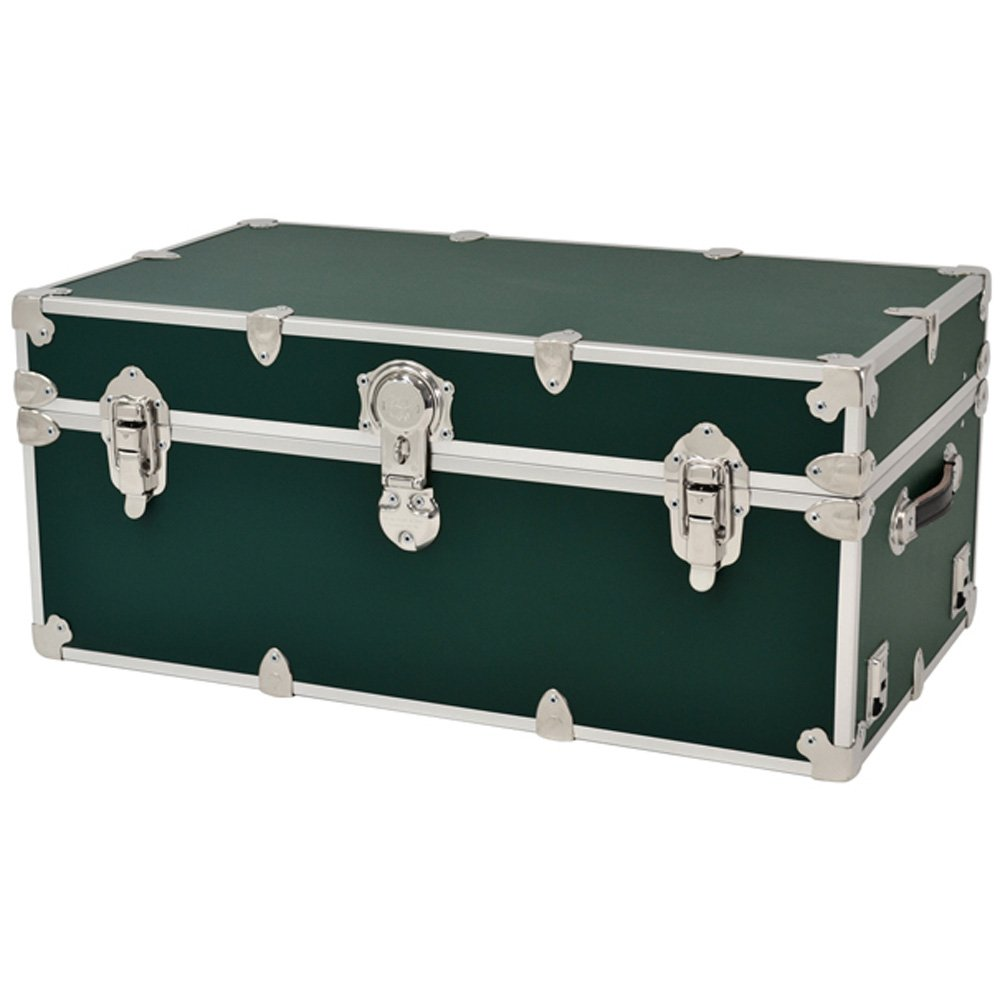 Rhino Sticker College & Camp Trunk with Wheels & Tray - 32''L x 18''W x 14''H - Forest Green