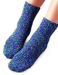 Vero Monte 4 Pairs Womens Crew Slipper Socks - Silicon Non-Slip