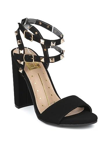 10b4f18373f2 Alrisco Women Nubuck Open Toe Studded Double Ankle Strap Block Heel Sandal  HG89 - Black Nubuck