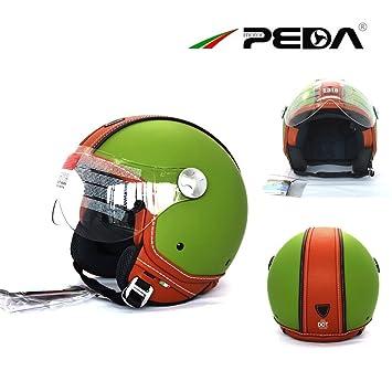 PEDA Diseño italiano (MOCA GR) ECE DOT Motocicleta Motocicleta Casco Unisex Cara Abierta ITALIA