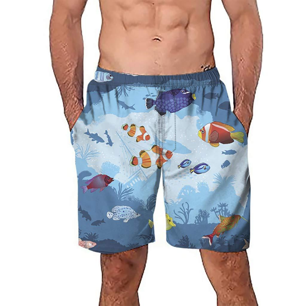 NUWFOR Men Casual 3D Graffiti Printed Beach Work Casual Men Short Trouser Shorts Pants(Multi Color,US:S Waist27.6-31.5'')