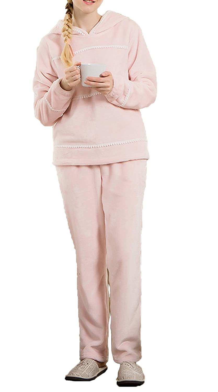 VECJUNIA Womens Pajamas Set Supersoft Lace Fleece Hooded Nightwear PJ Pink L