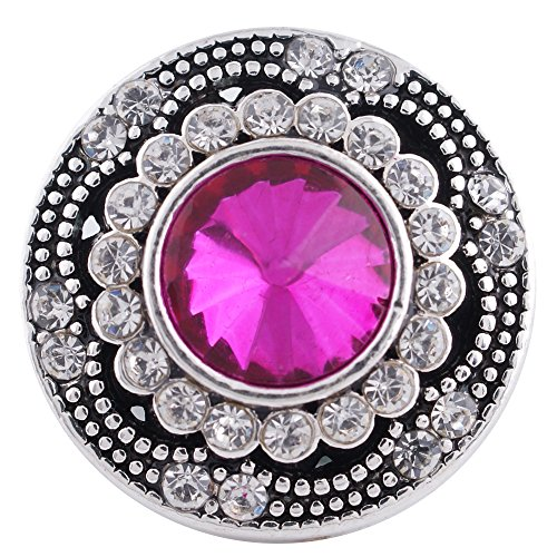 Interchangeable 18mm Snap Jewelry Rhinestone Antique Designer Pink by My Prime Gifts (Pink) (Snap Rhinestone)
