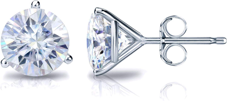 Platinum Round Moissanite Stud Earrings (1 to 7ct TGW, G-H) 3-Prong Martini, Push-Back by Diamond Wish