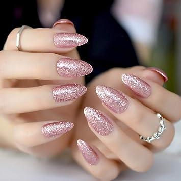 Amazoncom Gorgeous Rose Gold Almond Stiletto Fake Nails Pointed