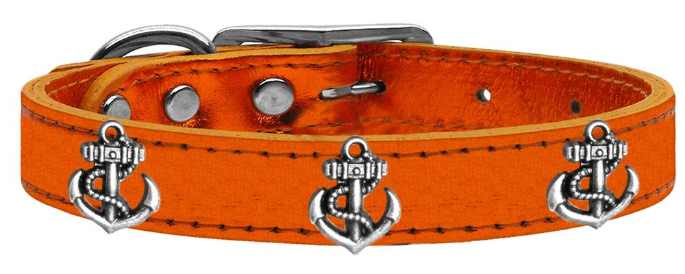 Mirage Pet Products 83-106 OrM14 Silver Anchor Widget Genuine Metallic Leather Dog Collar, Size 14, orange