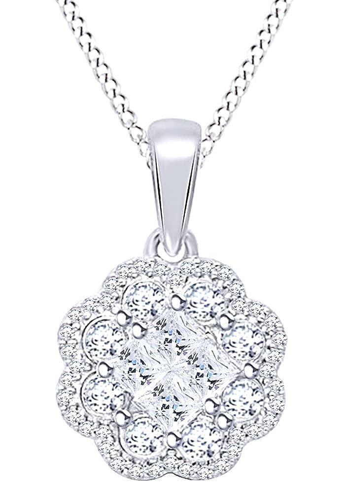 Halskette mit Anhänger 10 10 10 Karat massives Gold (3/4 Karat) Prinzessin & Rundschliff Weiß Diamant b4fda2
