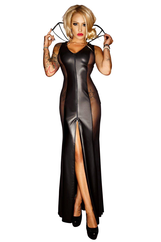 Noir negro hecho a mano vestido Tamaño largo Tamaño vestido F103: 3XL 17eaf6