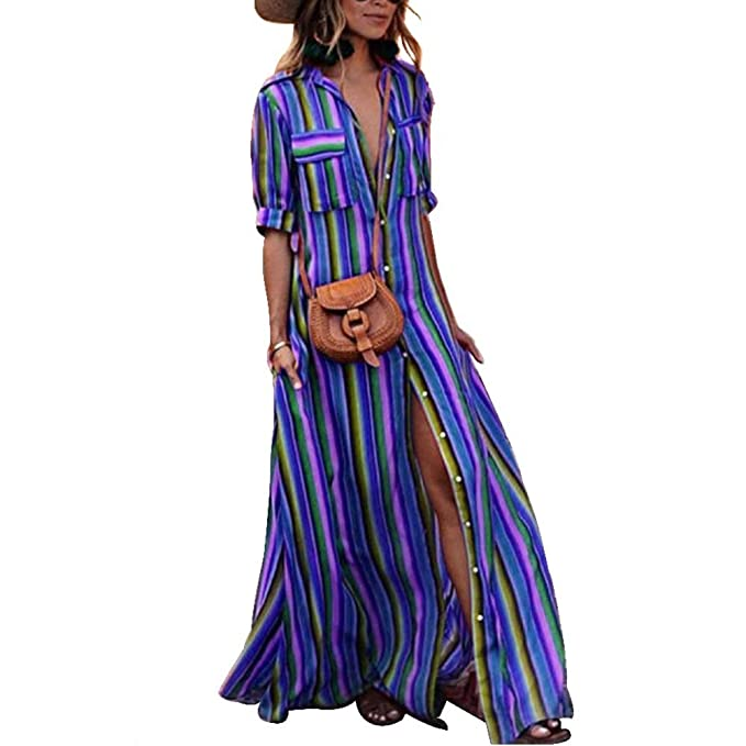 Womens Boho Maxi Dress Button Down Rainbow Stripes Long T Shirt Dresses  with Pockets at Amazon Women s Clothing store  269e3201c782