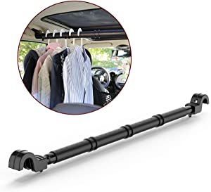 LITTLEMOLE Car Clothes Hanger Bar, Expandable Vehicle Clothing Rod Garment Rack Holder, Heavy Duty Metal and Rubber Grips