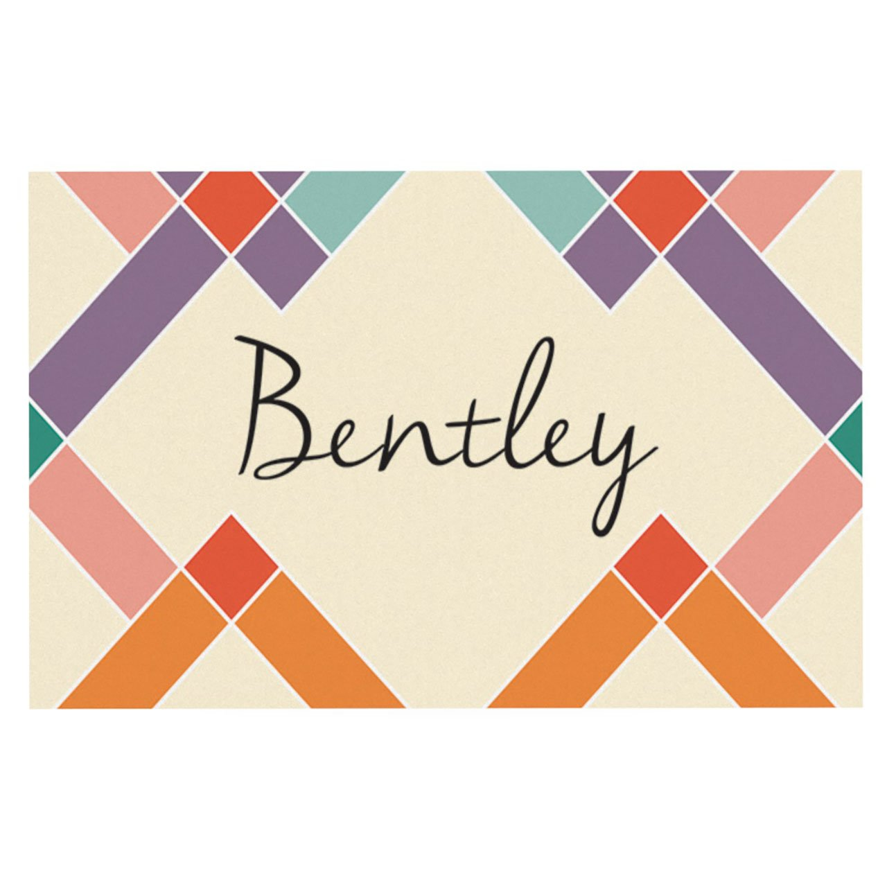 Kess InHouse Original Bentley Colorful Geometry Pet Bowl Feeding Placemat for Dogs and Cats, 18 by 13-Inch